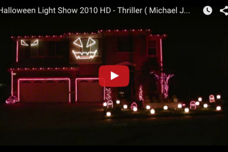 家が Thriller を歌いだす!『Halloween Light Show』